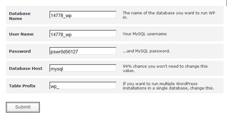 Database name, user name, password, database host