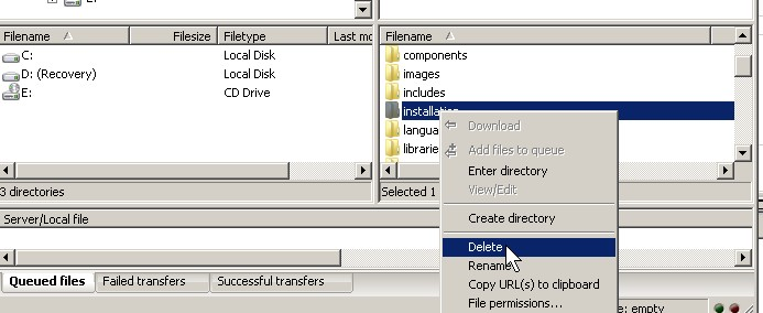 Deleting installation directory with FTP program like filezilla