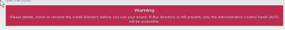 Remove install folder from phpbb3 folder