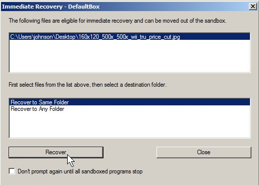 Recover downloaded files