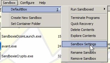 Sandbox Defaultbox Sandbox settings