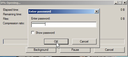 Type in password to open file in 7zip