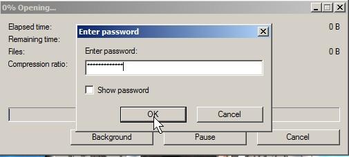 Type in password to open file in 7zip