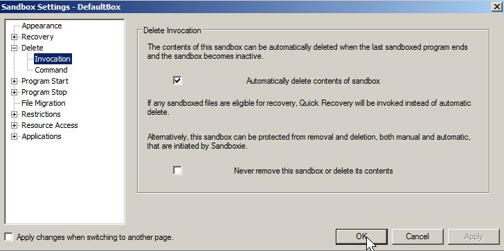 check automatically delete content of sandbox checkbox