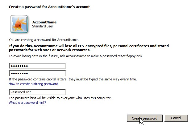 Creating password
