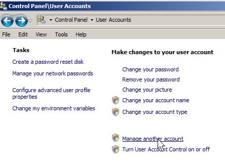 Manage another User Accounts