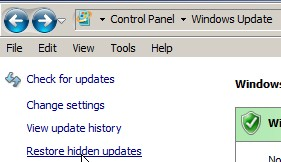 Restore Hidden Updates link