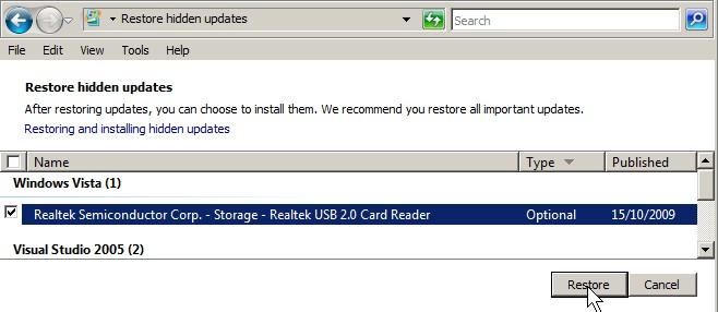 check hidden update and restore