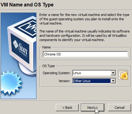 type a name and pick operating system type