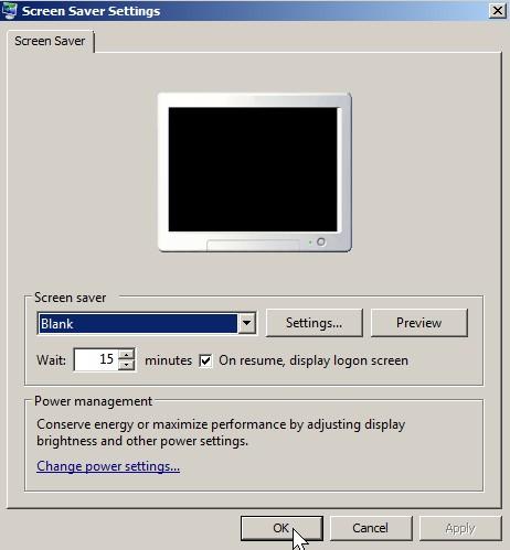 Check on resume logon screen press ok