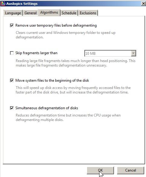 Auslogics Disk Defrag Algorithms settings