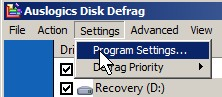 Auslogics Disk Defrag Program settings Path