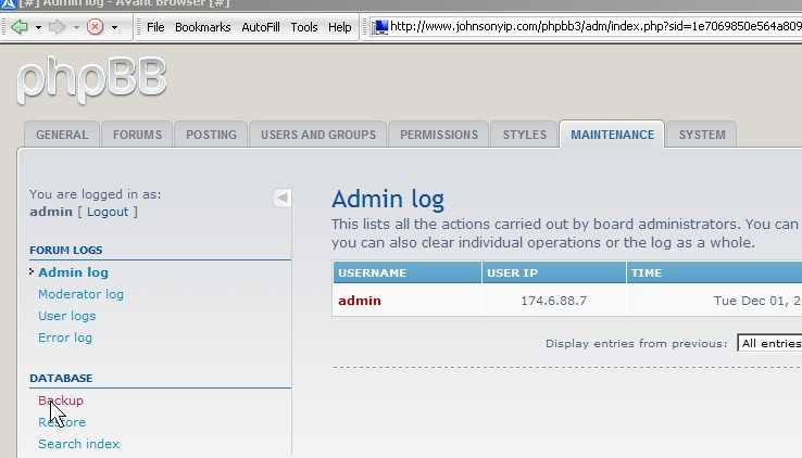 click on Back up your database link in maintenance tab in admin panel