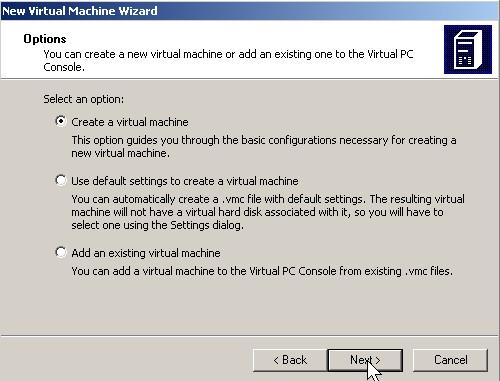 Pick Create virtual machine then click next