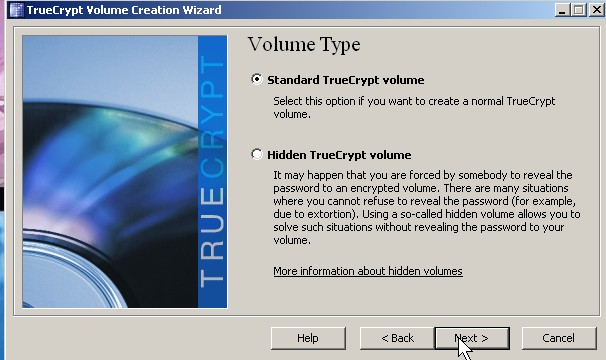 Pick standard truecrypt volume click next button