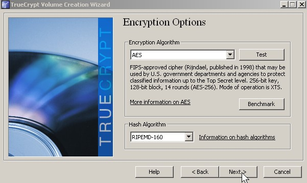 Pick encryption type click next button