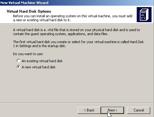 click a new virtual hard drive click next