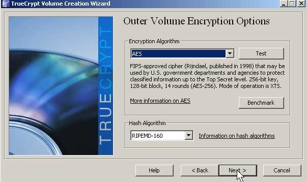 Pick Encryption type and Click Next