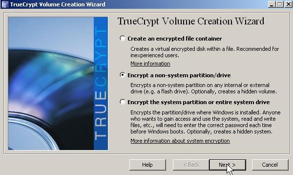 Pick encrypt non-system partition or drive Click Next button.