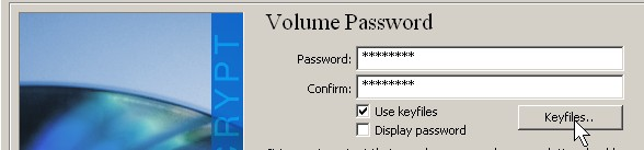 Check Use key files and click key files button when making your password.
