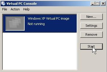 Click Start on the Virtual PC program