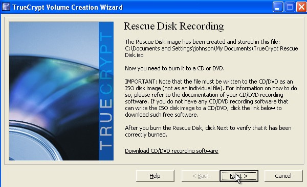 Burn Rescue disk to CD do not close truecrypt window leave CD in cd drive after burning the iso and click next