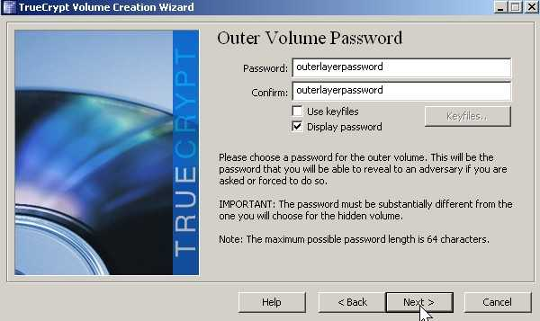 Type in outer layer password for accessing the outer layer click next.