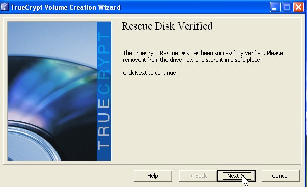 Remove rescue CD from cd-drive click next