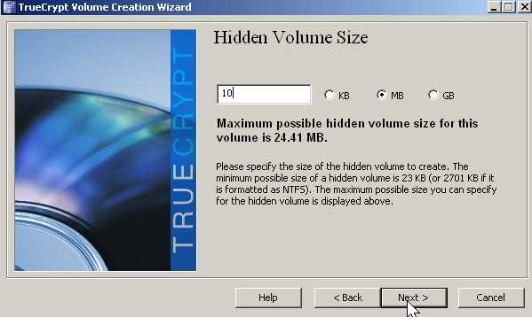 Type in size of hidden volume and click next.