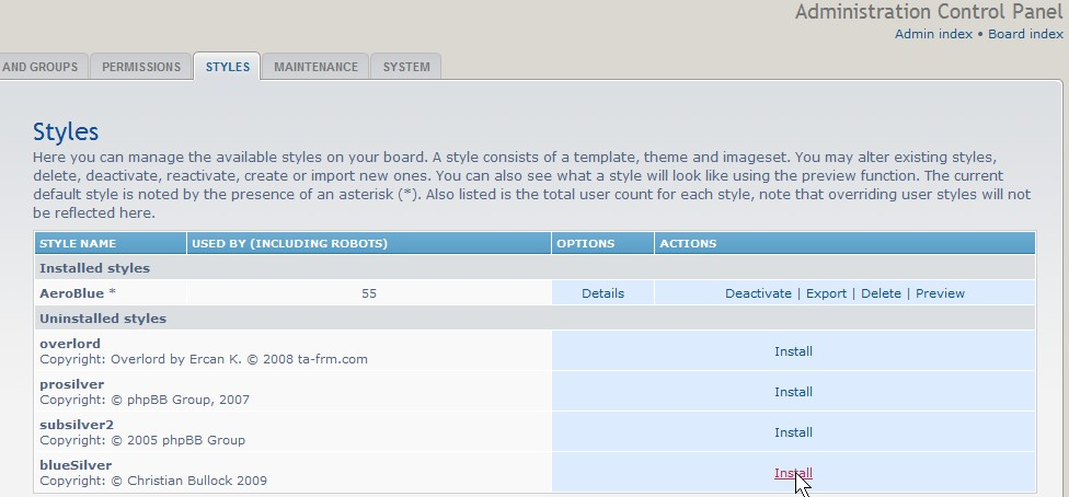 Go to your admin panel stylzes tb and click install link on the theme you uploaded