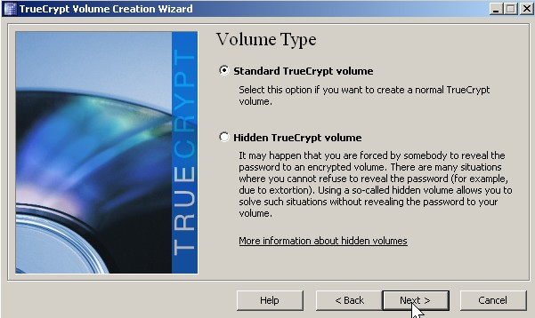 Pick Standard true crypt volume and click Next button.