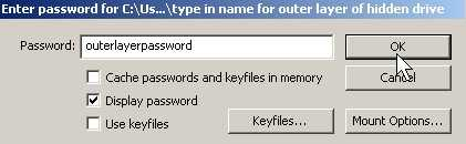 Type outer password to access outer layer of drive