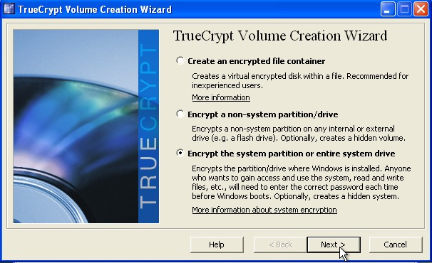 Pick encrypt the entire system partion or entire system drive click next