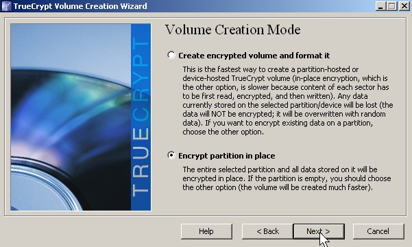Pick Create encrypted volume and format it oe Encrypt partition in place click next button.