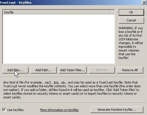 Click add key files button.