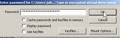 Type in your password and click OK button.