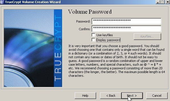 Type in your password twice Click Next button.