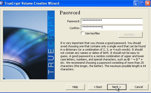 type in  password twice and click next