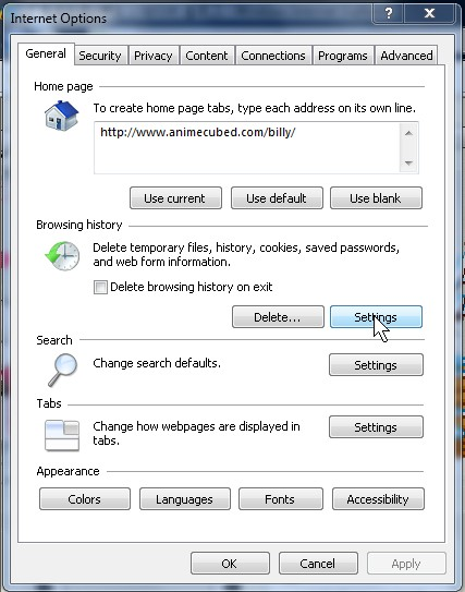 Click on Settings under browsing history