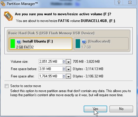 Adjust the volume sizes for your partition in the builtin wizard.