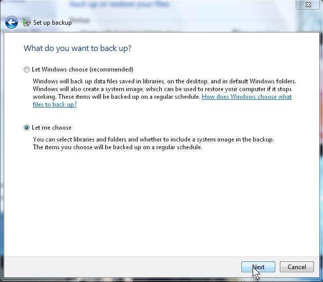 Let Windows pick the backup loacation or pick the location yourself.