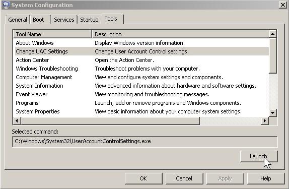 MS config tools tab