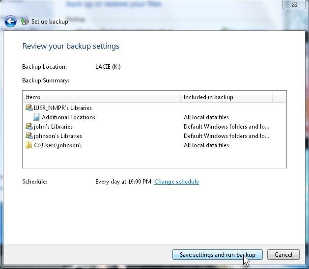 Save and run Backup.