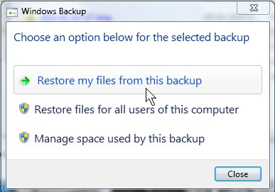 Restore  my files from this backup