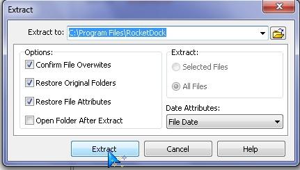extract to rocket dock skins folder