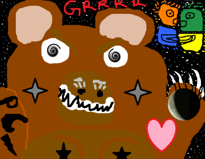 Angry PC Beary woke From Hibernation Windows 7 Picture made in Tux Paint and MS paint!!!