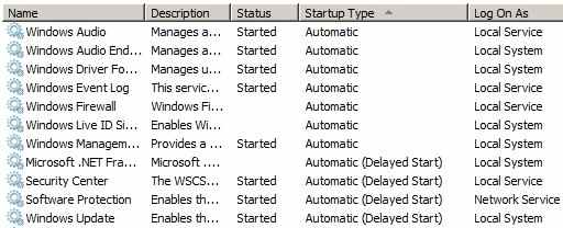 Services.msc automatic services not starting during start up!