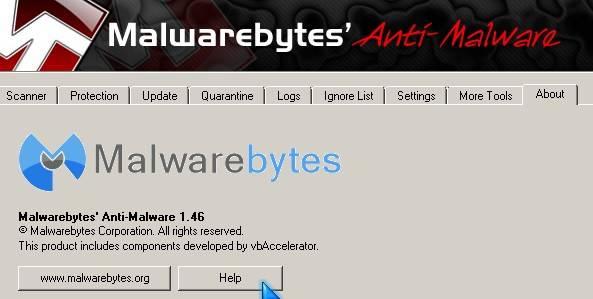 Malwarebytes help file button