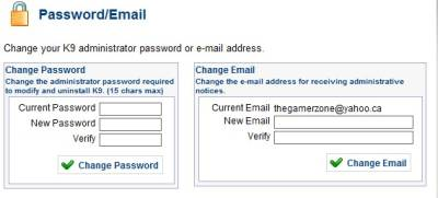 change password and e-mail