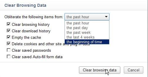 Google Chrome Clear Browsing Data Wizard